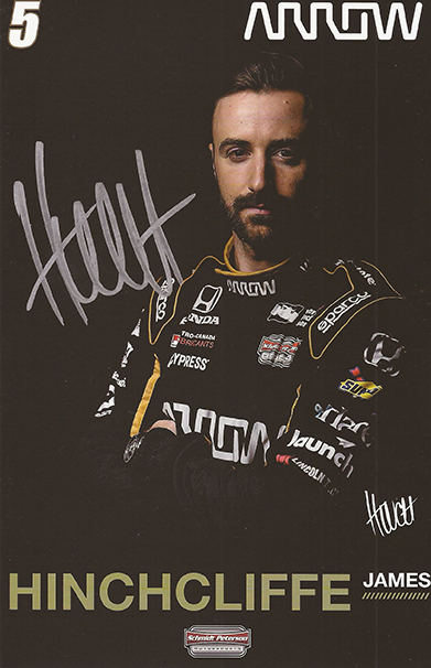 Signed Indycar James Hinchcliffe Card